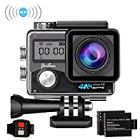JinSun Heart 3 Action Camera 4K WiFi Waterproof Sports Camera 170 Degree Ultra Wide Angle Lens EIS Sony Sensor, 30m Underwater Camera with 2 Pcs 1050mA Rechargeable Batteries and Mounting Accessories