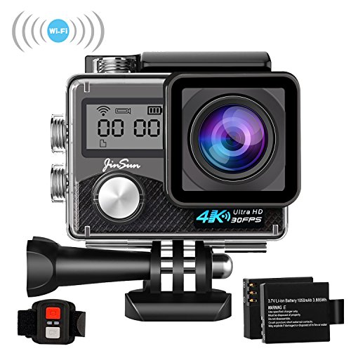 JinSun 4K WiFi Action Camera 16MP Sports Cam 30m Underwater Waterproof 170 Degree Wide Angle EIS Sony Sensor Sports Camera Camcorder, 2 Rechargeable Batteries and Mounting Accessories Kits SaiFit Sports Direct