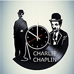 Charlie Chaplin Vinyl Wall Clock Great Gift for Men, Women, Kids, Girls and Boys, Birthday, Christmas Beautiful Home Decor - Unique Design That Made Out of Vinyl LP Record
