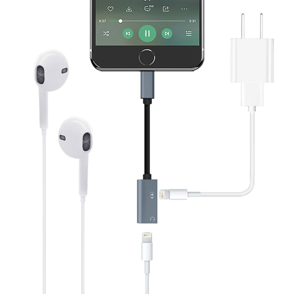 iPhone Dual Lightning Adapter Splitter - Power Trend 2 in 1 Earphone Adapter for iPhone X 7 8 Plus Headphone Jack Audio Music Calling Sync Charging Cable (Gray)