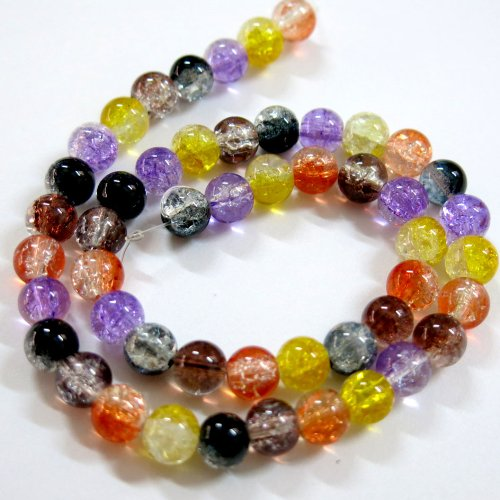 Tone Two Strand (Beading Station BSI Strand of 50-Piece Mix 2-Tone Crackle Glass Round Beads for Halloween Jewelry Making,)