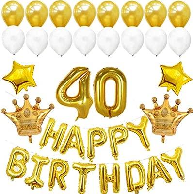 Toyvian Jumbo Dorado número 40 Globos Feliz cumpleaños ...