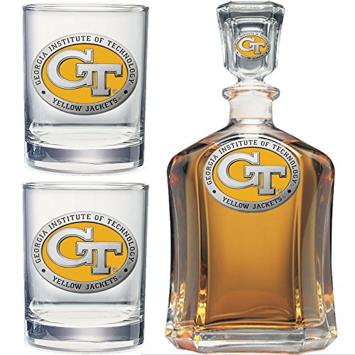 Heritage Metalwork Georgia Tech GT Decanter and Whiskey Rock Glasses Set