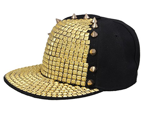 del A Hombres Roca COMVIP hip oro Sombrero de béisbol plano remache sombrero hop Spikes Punk 8BTp6w