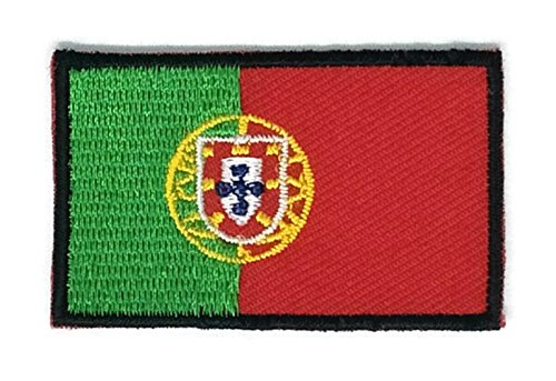 2 x 1.3 inches Portugal Flag Patch Sew Iron on Embroidered Badge Symbol - Shopping Online Portugal