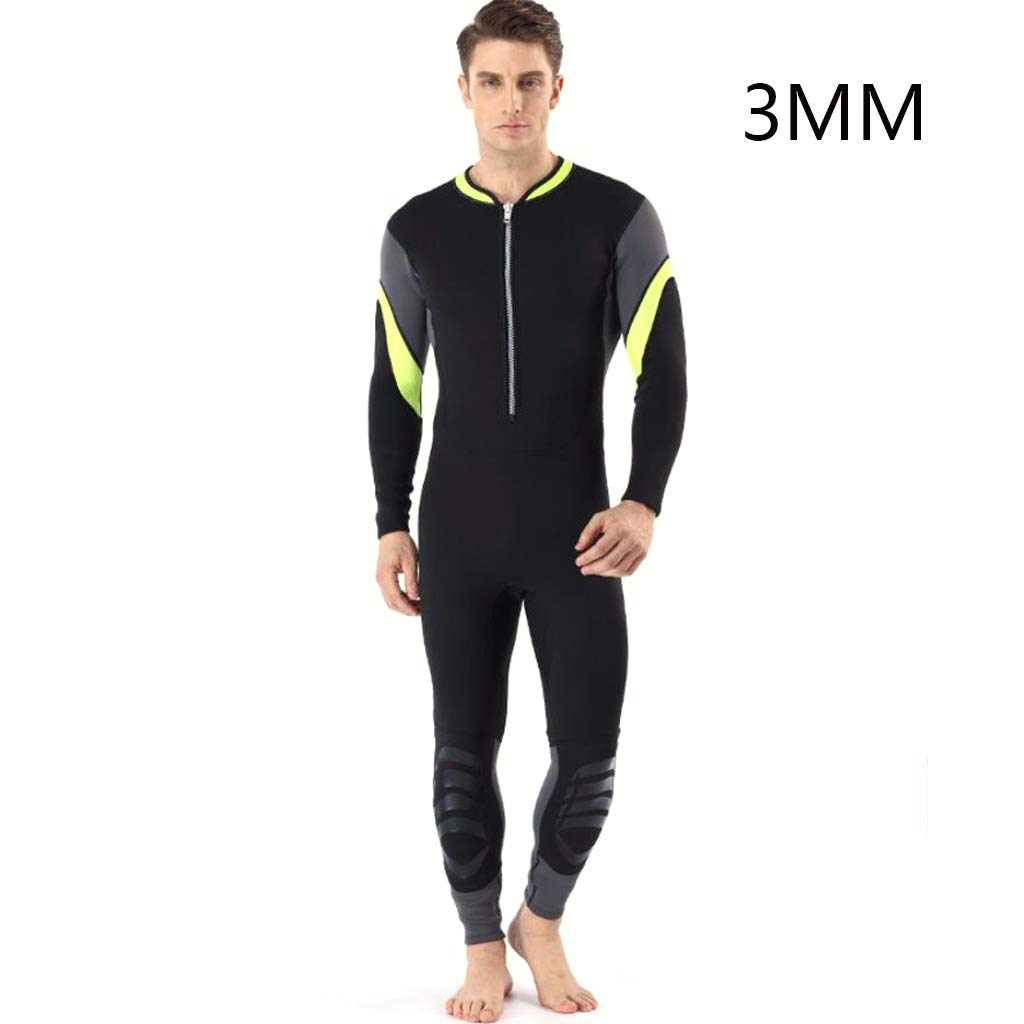 CHERRIESU Mens Full Wetsuit Neoprene Swimming Wet Suit, Round Neck Front Zip Wetsuit for Surfing, Scuba Diving,Green,XL by CHERRIESU