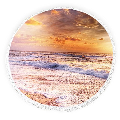 Beach Towel Round Roundie Throw Blanket with Tassels Picnic Tapestry Table CoverSunrise, Seaside Landscape Pattern 57 inch