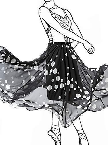 NASHALYLY Women's Polka Dot Print Maxi Skirt - Chiffon Elastic High Waist Pleated A-Line Flared Long Skirts(Sun Skirt-Dot, S) ()