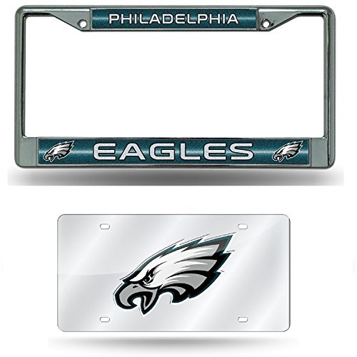 Philadelphia Eagles Laser License Plate (Philadelphia Eagles NFL Glitter Bling Chrome Plate Frame and Eagles Laser Cut Auto Tag)