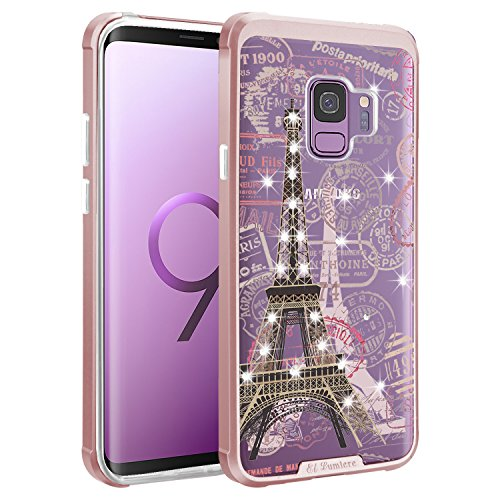 [ El Lumiere Airmax Sketch Case for Samsung Galaxy S9 ] Shockproof Air Cushioned Corners [Flexible & Durable TPU] Hybrid Protective Clear Case [Design Printed Transparent Back Cover] (Eiffel-Stamp)