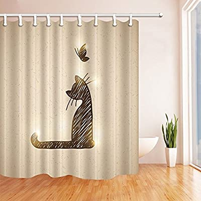 Amazon KOTOM A Litter Cat With Butterfly Shower Curtain 69X70 Inches Mildew Resistant Polyester Fabric Bathroom Fantastic Decorations Bath Curtains