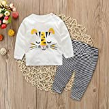 Discount 2Pcs Toddler Baby Boys Long Sleeves Cartoon Print Tops+Stripe Pants Outfits Set