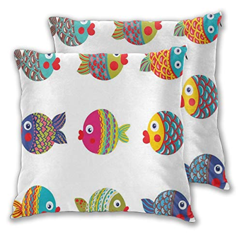 lsrIYzy Decorations Throw Pillow Cushion Cover Set of 2,Boho Ethnic Featured Ornate Fishes Gills Under The Sea Childish Kids Nursery Theme,Square Accent Pillow Case 16x16 inches