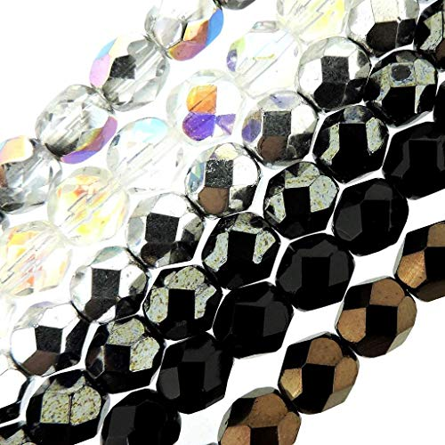 6 Color Set Czech Fire-Polished Faceted Glass Beads Round 6mm - Basics, 6 x 6