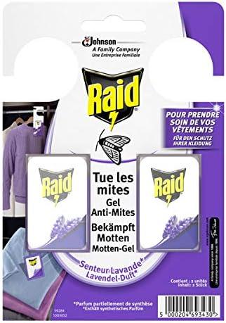 Raid (Paral) Motten-Gel, Mottenschutz für den Kleiderschrank, Mottenfalle mit Lavendel-Duft, 3er Pack (3 x 2 Stück)