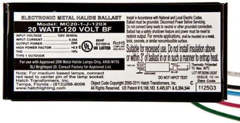 Electronic Metal Halide Ballast Hatch MC20-1-J-UNNU 120//277 Volt 20 Watt