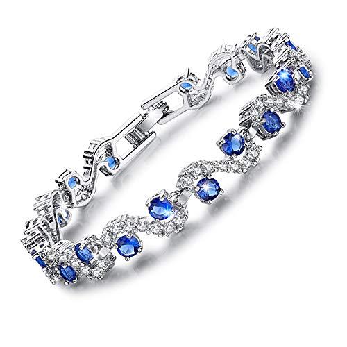 MEETYOO Women Blue Tennis Bracelet, Lady Cubic Zirconia with Swarovski Elements, Sapphire Jewelry Crystal Bridal Bangle Wedding Valentine's Gifts