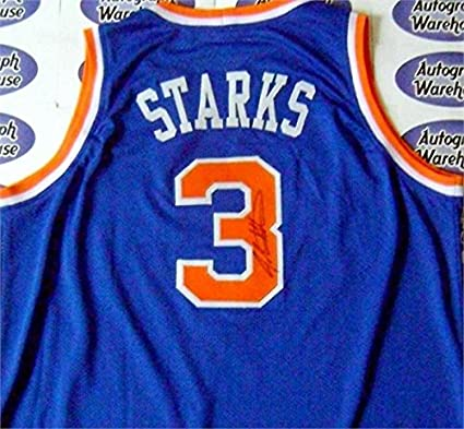 49ca356d Image Unavailable. Image not available for. Color: Signed John Starks Jersey  ...