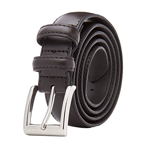 Men's Classic Stitched Leather Belt - Brown Belt With Silver Buckle (38) Single Pack