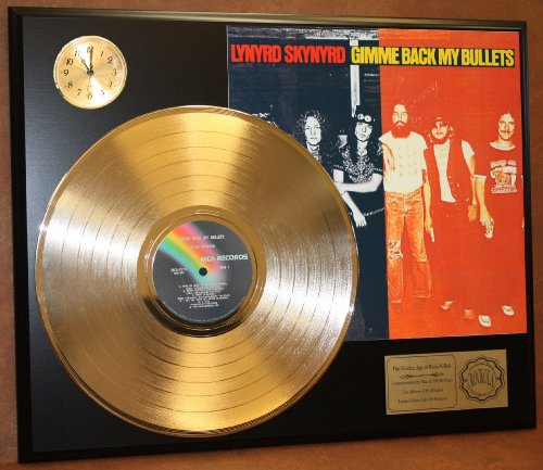 Lynyrd Skynyrd Gimme Back My Bullets LTD Edition 24Kt Gold LP Record & Clock Display Quality Collectible from Gold Record Outlet
