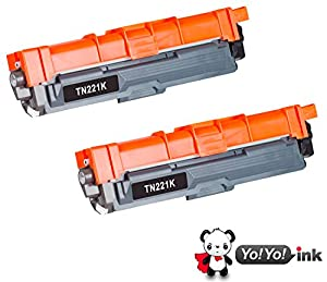 YoYoink 2 Pack Compatible Toner Cartridge Replacement for Brother TN221 (2 Black) MFC-9340CDW HL-3170CDW