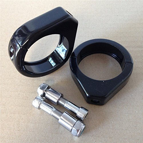 Turn Signal Mount Kit (HTT- Motorcycle Turn Signal Indicator Relocation Fork Clamp Kit for Harley Softail Mount Bracket 41mm Fork Black)
