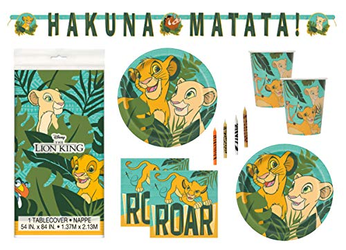 The Lion King Theme Birthday Party Supplies Set Serves 16 - Tablecover, Banner Decoration, Plates, Napkins, Cups and Candles - Nala and - Birthday Party Lion