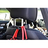 Hooks for Headrest in Car Universal With phone bracket for Bag Purse Cloth Grocery - Set of 2 (Black)