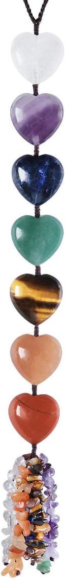 mookaitedecor 7 Chakra Heart Crystals Hanging Ornament, Healing Stones Tumbled Gemstones for Car & Home Decor, Reiki Yoga Meditation, 12-12.6 Inches