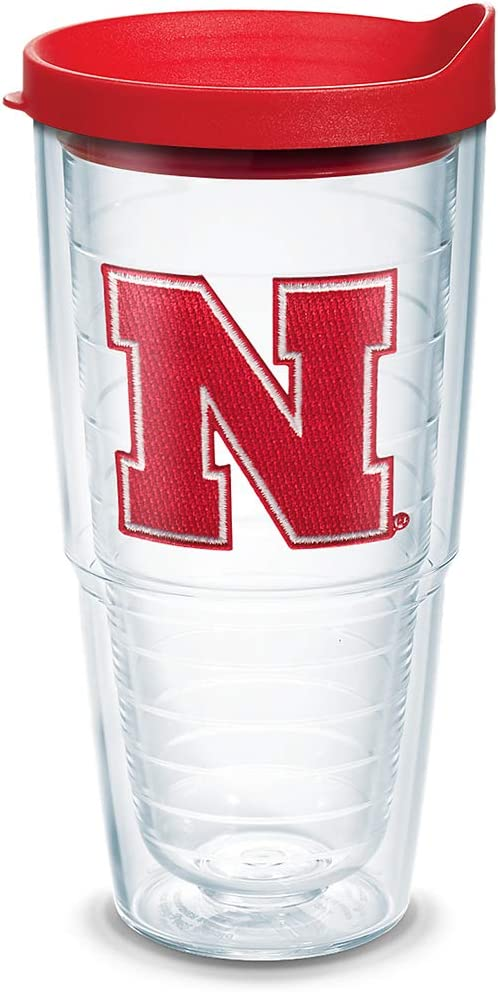 Tervis 1084206 Nebraska Cornhuskers Logo Tumbler with Emblem and Red Lid 24oz, Clear
