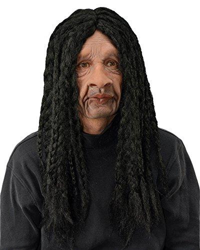 Zagone Supersoft Rasta Ska-Beat Moving Mouth Mask w Long Black Dreads, One Size ()