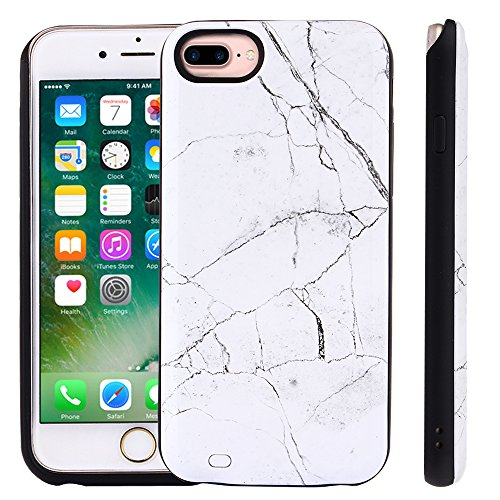 TabPow iPhone 8 Plus, iPhone 7 Plus, iPhone 6 Plus Battery Case, Marble Series - 6000mAh Ultra Slim Extended Battery Backup Charging Case Charger Pack Power Bank - White