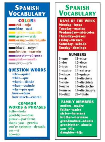 McDonald Publishing MC-K1161 Spanish Vocabulary Smart Bookmarks, 0.3