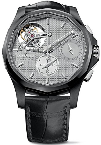 Corum Admirals Cup Admiral's Cup Tourbillon Silver Face Day and Date Seafender 47 Mens Chronograph Black Leather Strap Watch 398.550.19/0001 AG10