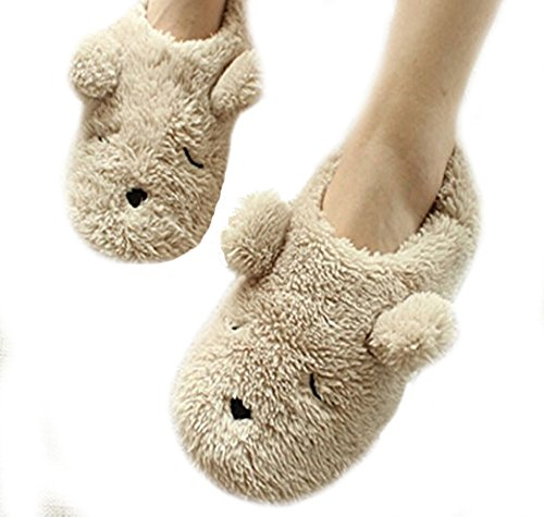 Womens Indoor Warm Fleece Slippers, Ladies Girls Lovely Cartoon Bear Winter Soft Cozy Thermal Non-slip Fuzzy Plush Mules Home Indoor Floor Slip-on Shoes Ankle Boots, Cream Teddy Bear