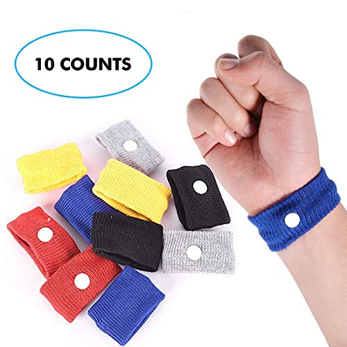 Acupressure Motion Sickness - KONGDY 10 Counts Multicolor Motion Sickness Relief Wrist Band Acupressure Anti-Nausea Relief Band for Kids/Adults/Seasick/Car/Air/Travel/Morning Sickness (10)