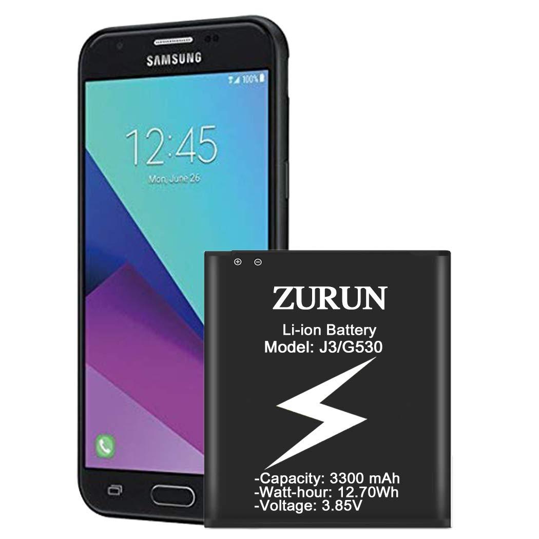 Galaxy J3 Battery ZURUN 3300mAh Battery Replacement for Samsung Galaxy J3 (2016) J320V J320A J320F J320P EB-BG530 EB-BG530BBU Galaxy Grand Prime Battery [2 Year Warranty] by ZURUN