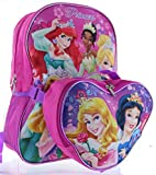 Disney Princess 15' Backpack with Lunch Bag - Cinderella, Tiana, Ariel, Rapunzel