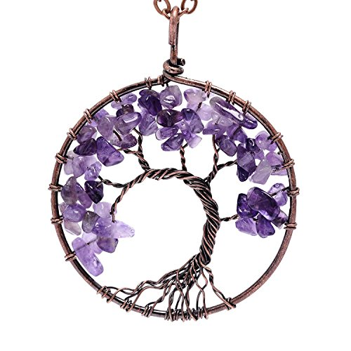 Purple Crystal Pendant - Viola Tricolor Tree of Life Amethyst Pendant Necklace Purple Birthstone Rose Crystal Necklace Wire Wrapping Necklace Gemstone Chakra Jewelry Best Gifts for Women