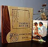 Personalized Wood Cover Photo Album, Custom Engraved Wedding Album, Style 100 (Maple & Walnut Cover)