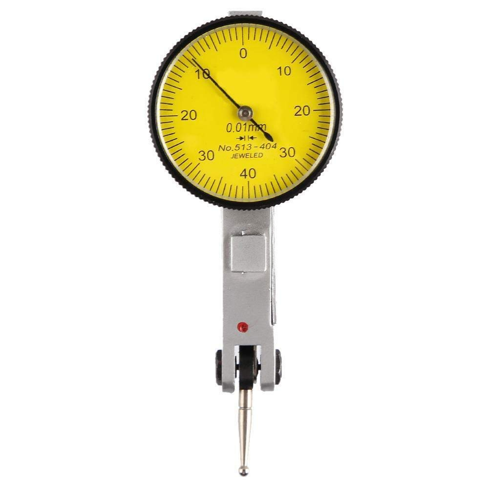 WonVon Dial Test Indicator,Precision Test Dial Indicator 0-0.8mm Level Gauge Scale Dovetail Rails 0-40-0 Dial Reading
