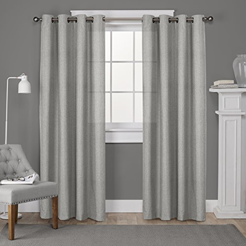 Exclusive Home Curtains Loha Linen Grommet Top Window Curtain Panel Pair, Dove Grey, 52x108