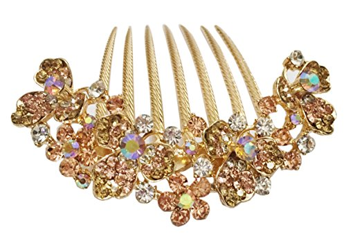 AnVei-Nao Womens Luxury Bohemia Flowers Rhinestones Hair Combs Accessories For Girl Gold