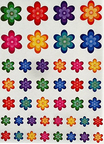 Daisy Flower Stickers for kids - Funky fun sticker with flowers - Permanent adhesive - 420 pack - By Royal Green