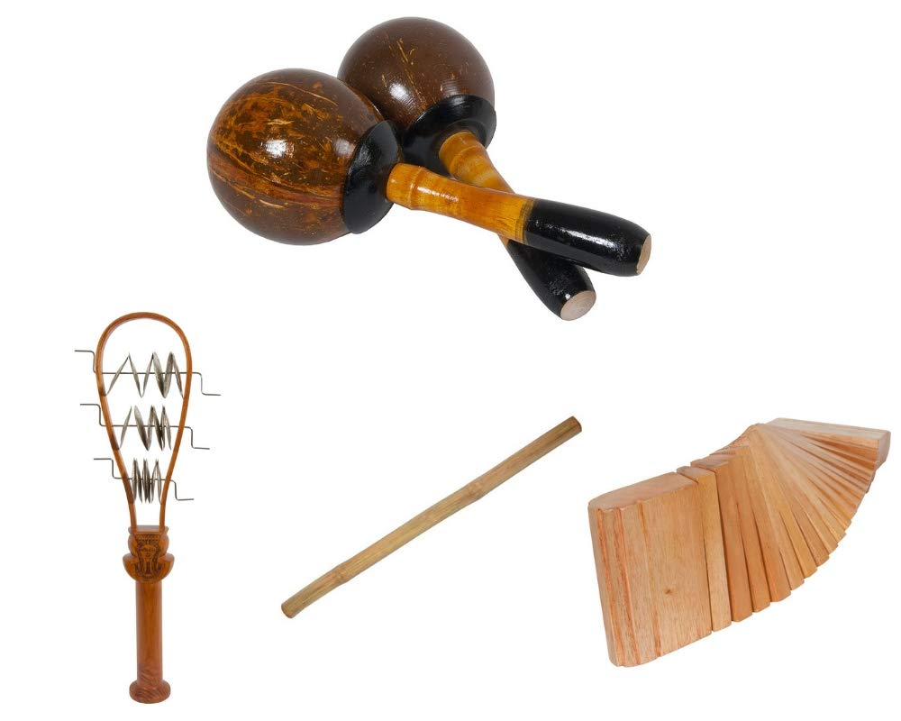 Coconut Maracas Package Includes: Hand Percussion Shaker, Pair + Ceremonial Systrum Shaker Percussion, Red Cedar + 39'' Percussion Bamboo Sticks Instruments & Kokinko Hand Percussion, Red Cedar
