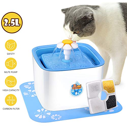 CCJK Cat Fountain, 2.5L Healthy and Hygienic Dog Water Dispenser,Ultra Quiet Pet Fountain for Cats,Dogs,Birds and Small Animals