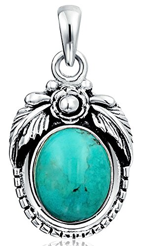 Native American Style Southwestern 10 MM Stabilized Turquoise Round Feather Sterling Silver Pendant Necklace For Women