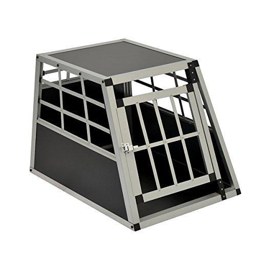 Hundetransportbox Hundebox Reisebox Gitterbox Alubox Autotransportbox Schwarz 69x54x50 cm (T x B x H) LZ0201-0103BK