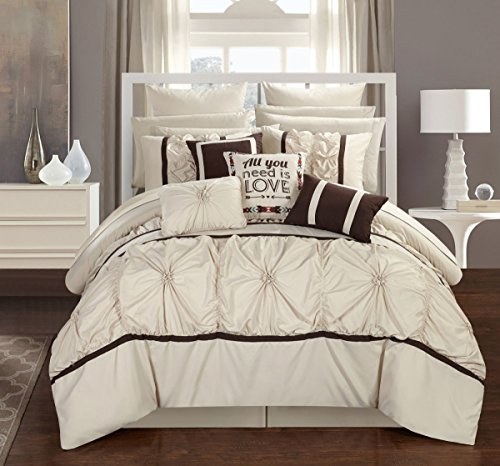 CS2765-AN Ashville 16 Piece Bed in A Bag Comforter Set, Off-White, Queen