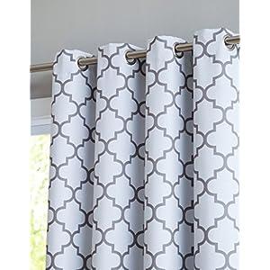"HLC.ME Lattice Print Thermal Grommet Blackout Patio Door Window Curtain for Sliding Glass Door - Platinum White & Grey - 100"" W x 84"" L - 1 Panel"